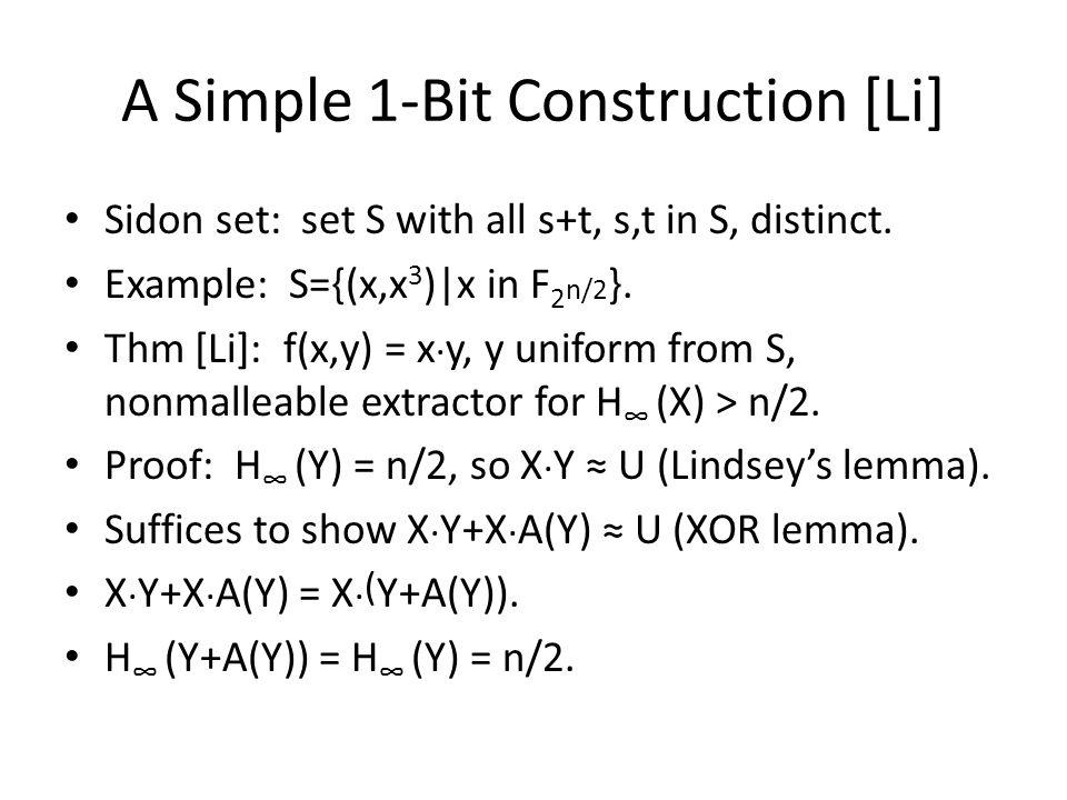 A Simple 1-Bit Construction [Li]